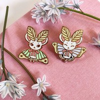 Green MouseMoth Rose Gold Hard Enamel Pin