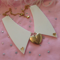 Golden Heart Acrylic Collar Necklace by imyourpresent on Etsy