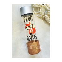 "Zero ""fox"" Given BPA Free Glitter Dipped Plastic Water Bottle // Glitter Water Bottle // Glitter Bottle // Birthday Gift // Fox"