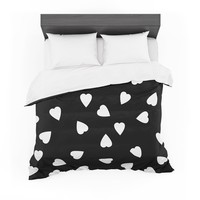"""Suzanne Carter """"Hearts White"""" Black Featherweight Duvet Cover"""