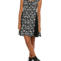 Key Skull Print Challis Dress