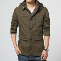 New Casual Hooded Parkas Hombre Thick Warm Winter