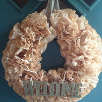 Decorative Rustic Tea Dyed Coffee Filter Wreath, Housewarming Gift