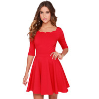 Slim Flared Tunic Scallop Neckline Dress