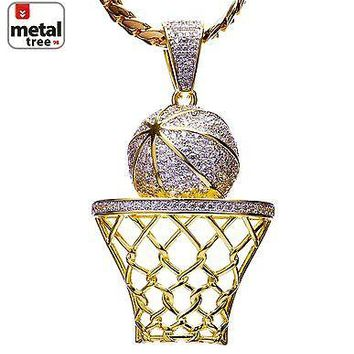 Jewelry Kay style Men's 14k Gold Plated Basketball Pendant Miami Cuban Chain Necklace BCH 1050 TT