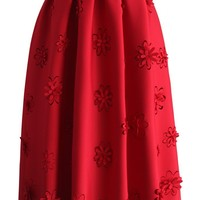 Falling Flowers Airy Pleated Midi Skirt in Red