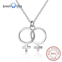 NECKLACE JEWELRY LGBT Sterling Silver For Women Double Female Lesbian Symbol