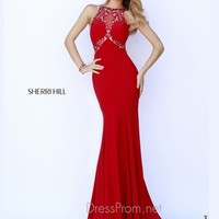 Sleeveless High Neckline Formal Prom Gown By Sherri Hill 9733