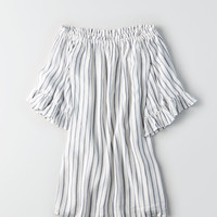 AE STRIPED EXAGGERATED BELL SLEEVE SHIFT DRESS, White