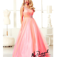 Mac Duggal 2014 Prom Dresses - Candy Pink Rhinestone Beaded & Ruched One Shoulder Gown
