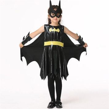 Children Superhero Movie Batman Black Knight Bat Girls Dress Cosplay Costumes Set Holiday Dance Party Performance Wear Halloween