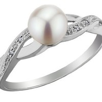 Freshwater Pearl Infinity Ring with Diamonds in 10K White Gold, Size 5.5