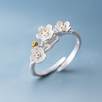 The cherry blossom branch resizable open ring in white copper silver plated, medium