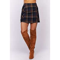 Always With Ease Plaid Skirt (Navy Combo)