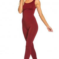 Simple Sleeveless Catsuit in Burgundy