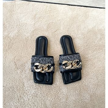 New black metal chain link flat slippers open-toe sandals