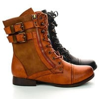 Yucca3 Lace Up Combat Military Ankle Boots