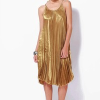 Alluring Accordion Pleated Swing Dress In Gold Thirteen Vintage