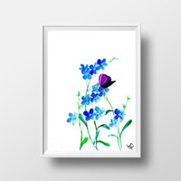 forget me not watercolor flower butterfly painting wall art print decor home decal neutral blue floral art poster large small 4x6 24x36 5x7