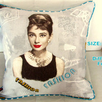 Exclusive Design Audrey Hepburn piping pillow cover 18x18