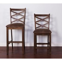 Sunny Designs Savannah Barstool with Cushion Seat In Antique Charcoal