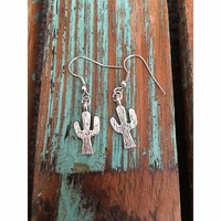 FREE GIFT WITH PURCHASE!        Dainty Silver Cactus Earrings