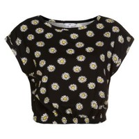 New Look Mobile | Black Daisy Print Roll Sleeve Crop T-Shirt