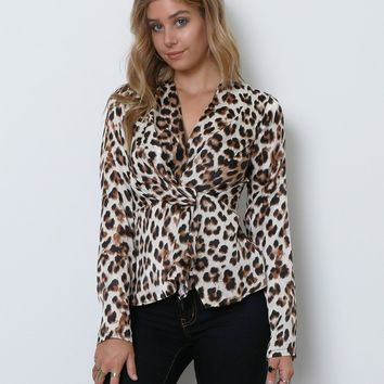 Carmen Leopard Print Blouse - Black/Brown