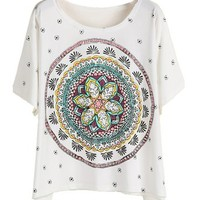 Sheinside Women's White Short Sleeve Vintage Floral Loose T-Shirt