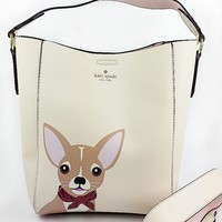 Kate spade New fashion dog rabbit print high capacity shopping women shoulder bag White