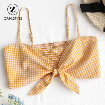ZAN.STYLE Summer Women Smocked Plaid Bow Knot Tied Cami Cropped Top Adjustable Strap Tube Top Sexy Camis Top Bralette Fitness