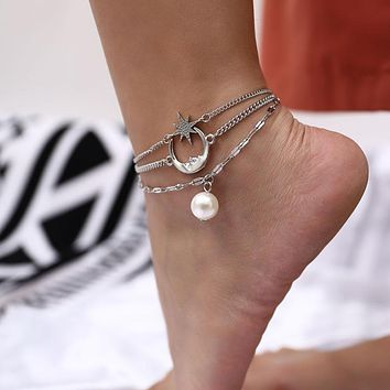 European and American fashion accessories, wild beach elements ladies, simple moon, stars and pearl anklets