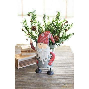 Recycled Iron Santa With Military Canister