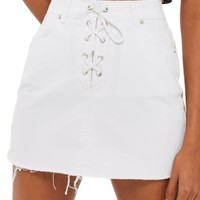 Topshop Lace-Up Front Denim Skirt | Nordstrom