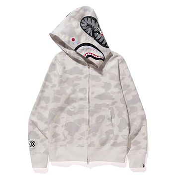 Autumn BAPE shark luminous camouflage zipper hooded cardigan sweater coat White