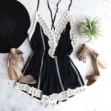 Gypsy Lace Romper in Black