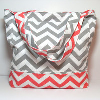 Chevron Tote Bag - Coral Gray - Canvas Tote - Summer Beach Bag - Made To Order