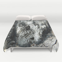 Black and white old tree bark texture abstract photo Duvet Cover by YANKA