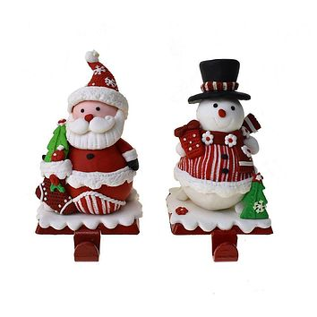 Claydough Christmas Santa and Snowman Stocking Hanger, 7-1/2-Inch, 2-Piece