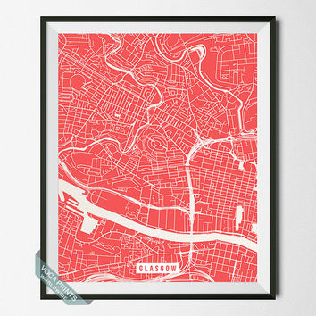 Glasgow Street Map, Scotland Poster, Glasgow Poster, Scotland Print, Home Decor, United Kingdom, Map Print, Wall Art, Back To School