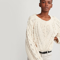 Cable Knit Matte Chenille Balloon Sleeve Sweater