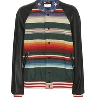 Indie Designs Saint Laurent Inspired Multicolor T-rex Tapestry & Leather Teddy Jacket
