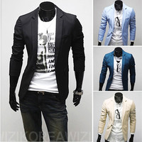 One Button Fashion Men Slim Fit Blazer