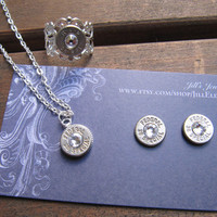 38 Special Bullet Jewelry Set with Earrings, Necklace and Ring with Swarovski Crystal Accents - Small Thin Cut - Classic