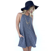 Cruise Along Sleeveless Sweater Dress In Grey
