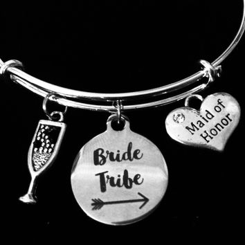 Maid Of Honor Jewelry Bride Tribe Expandable Charm Bracelet Bangle Silver Adjustable Wire Bangle Wedding Shower Bridal Trendy One Size Fits All Gift Champagne