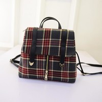 Comfort Stylish On Sale Hot Deal College Back To School England Style Canvas Vintage Plaid Korean Casual Backpack [6581836295]