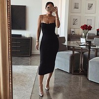 Spaghetti Strap Corset Bodycon Midi Dress
