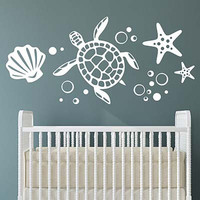 Turtle Group Vinyl Wall Decal Sticker