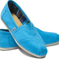 TOMS Bright Blue Canvas Women's Classics Slip-On Shoes,